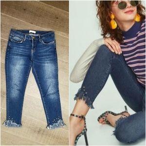 Zara frayed hem grommet detail jeans